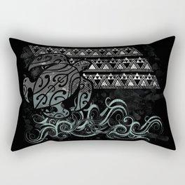 Slate Polynesian Tribal Turtle Grunge Rectangular Pillow