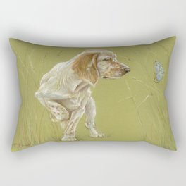 The First Spring Butterfly English Setter Puppy Pastel Drawing on green background Rectangular Pillow