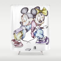 cocaine Shower Curtains featuring Mickey And Minnie Drug Addicts by Lizard Illustration