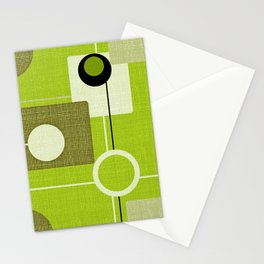 orbs and squares acid green Stationery Cards