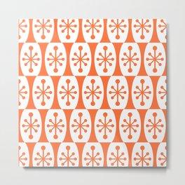 Mid Century Modern Atomic Fusion Pattern Orange Metal Print