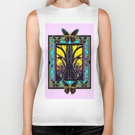 Black Orchid Butterfly & Black Cacti Western Abstract Biker Tank