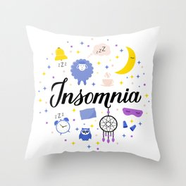 Insomnia calligraphy hand lettering with Dreamcatcher, moon and stars.  Throw Pillow