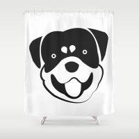 rottweiler Shower Curtains featuring Rottweiler by anabelledubois