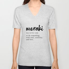 Meraki Word Nerd Definition - Minimalist Typography Unisex V-Neck