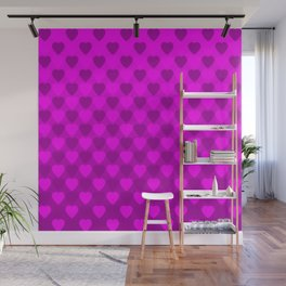 Zigzag of iridescent pink hearts staggered on a violet background. Wall Mural