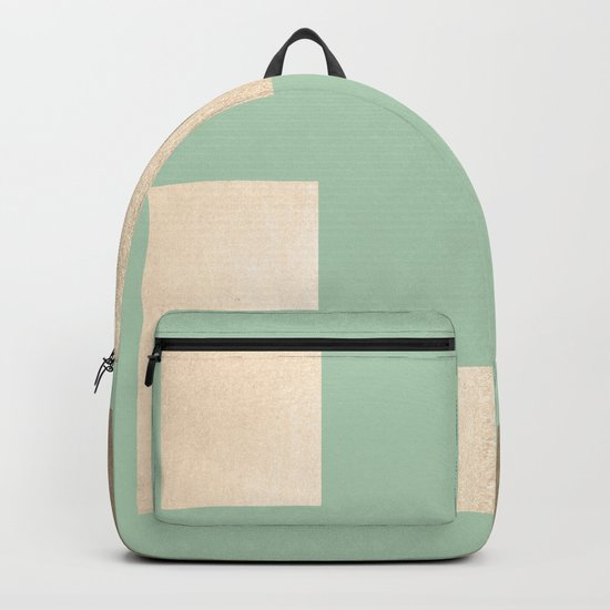 Simply Geometric White Gold Sands on Pastel Cactus Green Backpack