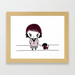 Chibi Girl and Dog in Red and Black Framed Art Print
