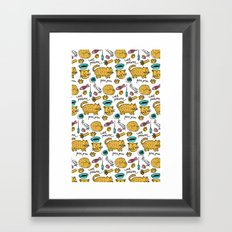 Cute Cats Love Pattern Framed Art Print