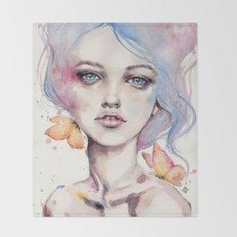 With Elegance (female Portrait) Throw Blanket
