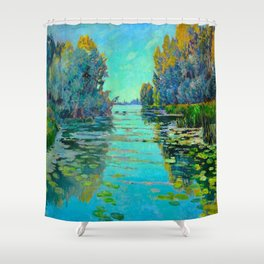 Václav Radimský (1867-1946) Waterlilies in evening light Modern Impressionist Oil Painting Colorful Shower Curtain