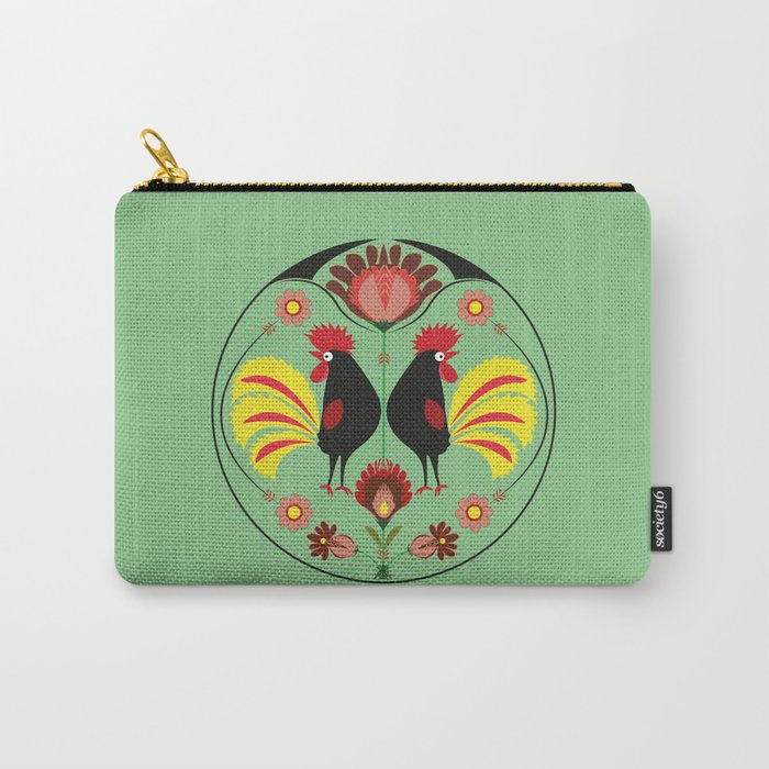 Polish Folk With Decorative Roosters Carry All Pouch