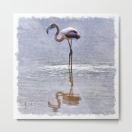 Flamingo Ripples and Reflections Watercolor Metal Print