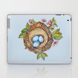 Bird nest Spring watercolor blue Laptop & iPad Skin