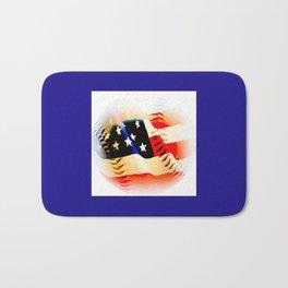 Baseball And Americn Flag Painting By Annie Zeno  Bath Mat