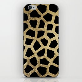 Modern luxury black and gold foil animal print iPhone Skin