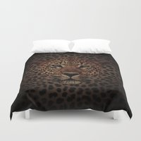 daenerys Duvet Covers featuring LEOPARD KING by alexa