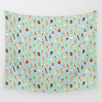 ice cream Wall Tapestries featuring Ice cream by Wonderful Day