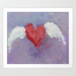 flying heart encaustic Art Print