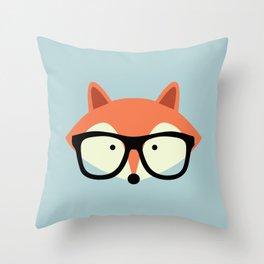 Hipster Red Fox Throw Pillow
