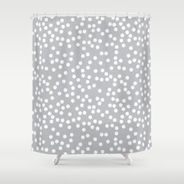 Silver Gray and White Polka Dot Pattern Shower Curtain