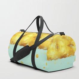Gold Leaf on Mint Duffle Bag