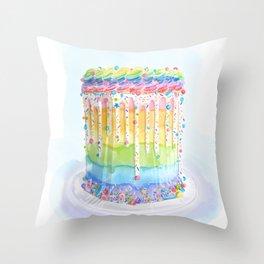 @theflourgirl_ Rainbow Cake Throw Pillow