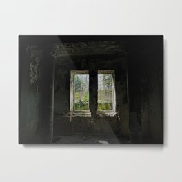 Still Holding Up - abandoned dark room with columns and window - photo Metal Print