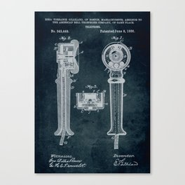 1886 - Telephone patent art Canvas Print