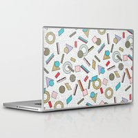 toddler Laptop & iPad Skins featuring Modern Memphis Inspired Geometric Gold Pattern by Season of Victory