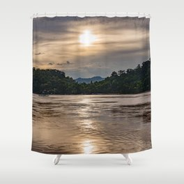 Sunset over the Mekong River. Shower Curtain