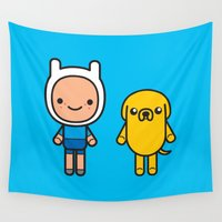 finn Wall Tapestries featuring #48 Jake and Finn by Brownjames Prints