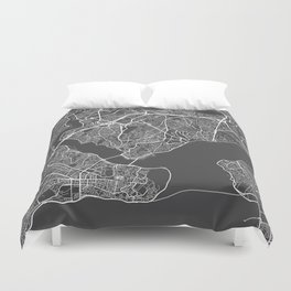 Istanbul Map, Turkey - Gray Duvet Cover