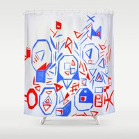 aliens Shower Curtains featuring Aliens by KalinaM