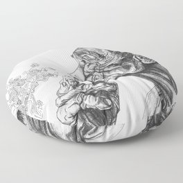 Geometric Graphic Black and White Smoker Drawing Floor Pillow