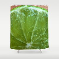 lime green Shower Curtains featuring Lime Green and Fresh by BluedarkArt