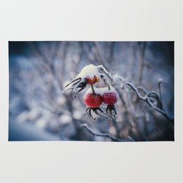 Rose hips and snow Rug