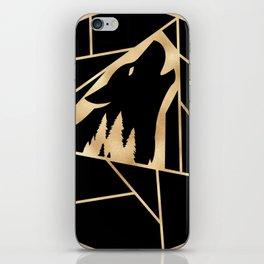 Geometric Wolf Golden Black iPhone Skin