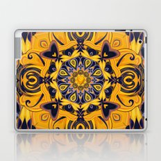 Flame Hearts in Blue and Gold Laptop & iPad Skin