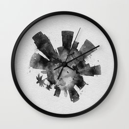Los Angeles, California Black and White Skyround / Skyline Watercolor Painting Wall Clock