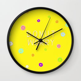 DONUT WORRY 3 (with text) Wall Clock