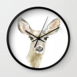Doe Deer Watercolor Painting Fine Art Wall Clock