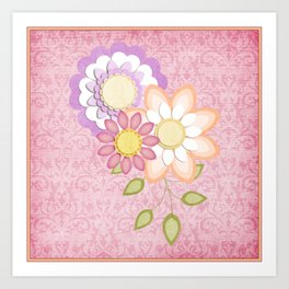 Colorful Spring Posy Pink Damask Style Brocade Art Print