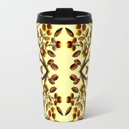 Yellow Brown Flower Leaf Pattern Vector Travel Mug