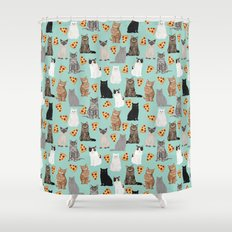 Cats with Pizza slices cheesy food funny cat lover gifts by pet friendly pet portraits Shower Curtain