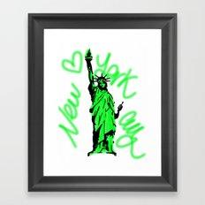 New York City Neon Green Framed Art Print