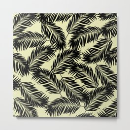 Palm Frond Tropical Décor Leaf Pattern Black on Yellow Metal Print