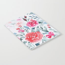 Red roses watercolor painting Notebook