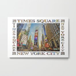 Times Square Hustle (white poster edition) Metal Print