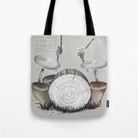 drums Tote Bags featuring Mushroom drums by Anion